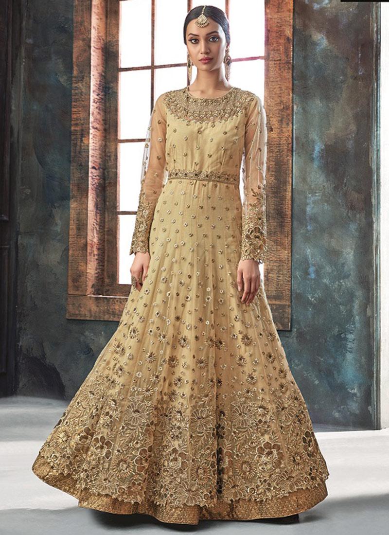 faaf091c22c Buy Beige Embroidered Abaya Style Anarkali Suit