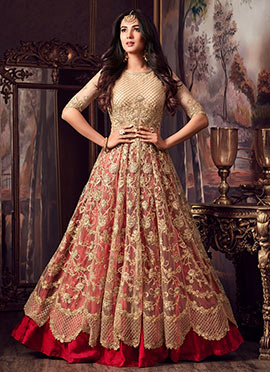 Beige Embroidered Abaya Style Anarkali Suit