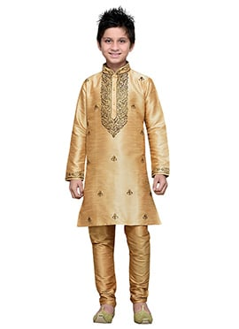 Beige Embroidered Art Silk Boys Kurta Pyjama