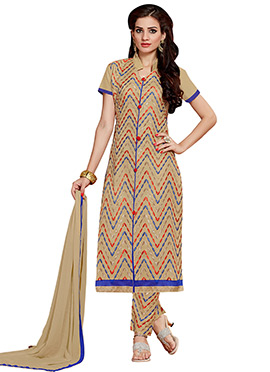 Beige Embroidered Cotton Straight Pant Suit