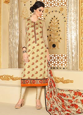 Beige Embroidered Georgette Churidar Suit