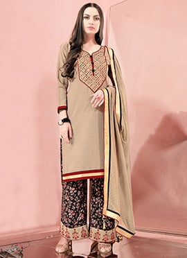 Beige Embroidered Palazzo Suit