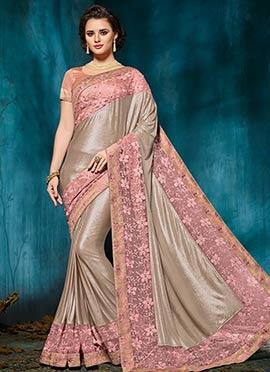 Beige Embroidered Saree