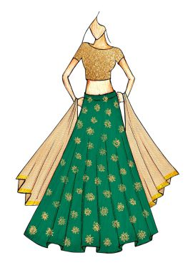 Beige Embroidred Top and a Green Zari Weaved Skirt with a Gold Net Dupatta