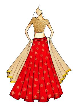 Beige Embroidred Top and a Red Zari Weaved Skirt with a Gold Net Dupatta