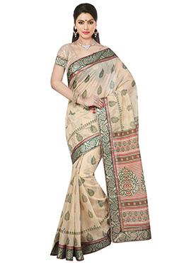Beige Fancy cotton Saree
