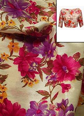 Beige Floral Printed Artsilk Blouse Material