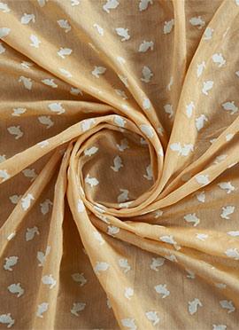 Beige Foil Printed Modal Silk Fabric