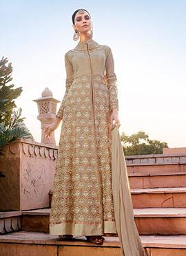 Beige Georgette Abaya Style Anarkali Suit