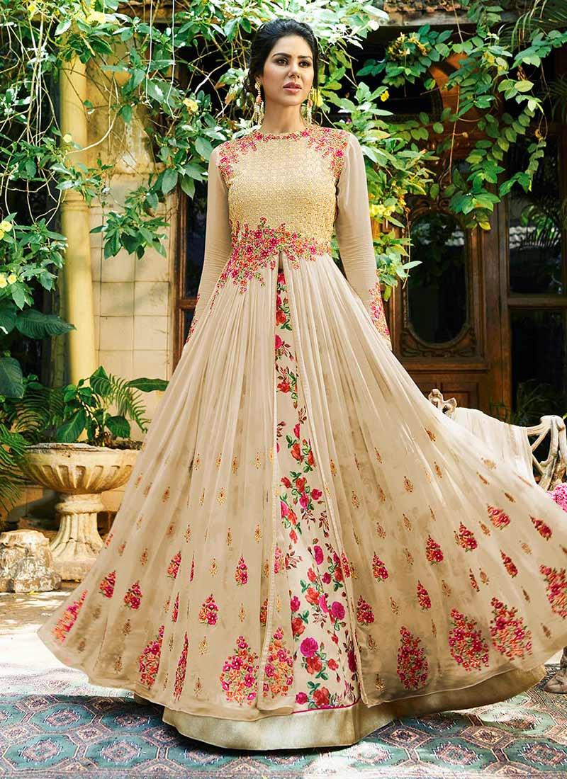 lehenga anarkali choli georgette beige floral designs umbrella lehengas designer latest indian dresses shopping party pakistani wear pink colored saree