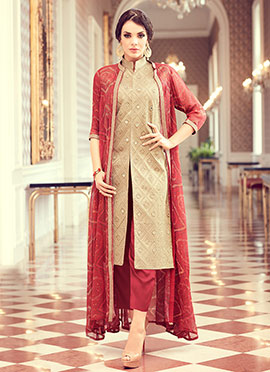 Beige Georgette Art Silk Straight Suit