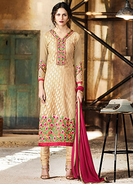 Beige Georgette Brasso Churidar Suit
