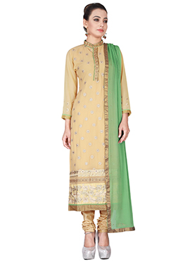 Beige Georgette Churidhar Suit