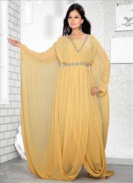 Beige Georgette Fustan Dress