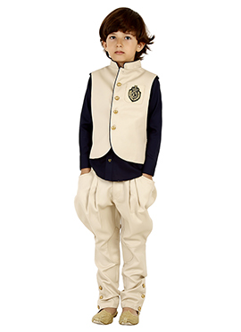 Beige Georgette Kids Vest Set