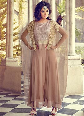 Beige Georgette Poncho Style Suit