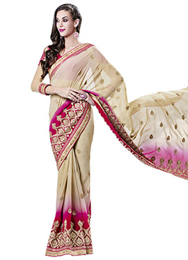 Beige Georgette Saree