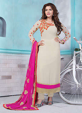 Beige Georgette Straight Suit