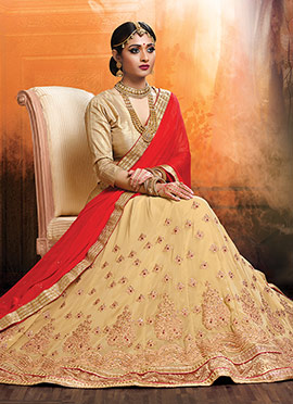 Beige Georgette Umbrella Lehenga Choli