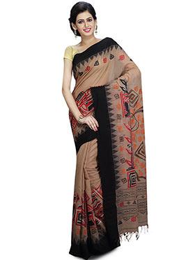 85cd61509e1 Beige Handloom Cotton Jamdani Saree ...