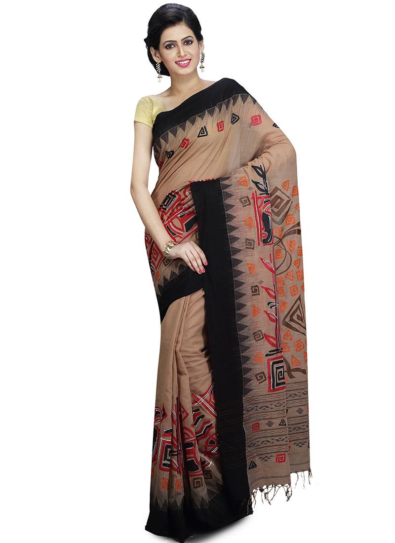 66fe67cc233 Buy Beige Handloom Cotton Jamdani Saree
