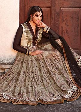 Beige Heavy Embellished Anarkali Suit