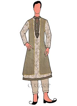 Beige Jacket Style Sherwani Set