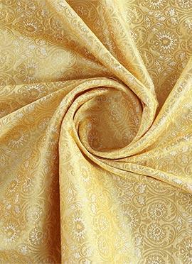 Beige Jacquard Art Silk Fabric