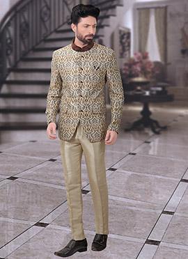 Beige Jacquard Bandhgala Suit
