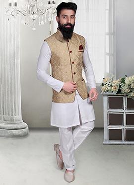 Beige Jacquard Foliage Designed Nehru Jacket