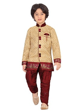 Beige jacquard Silk Blend Boys Sherwani