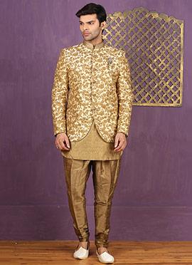 Beige Jodhpuri Style Indowestern Sherwani