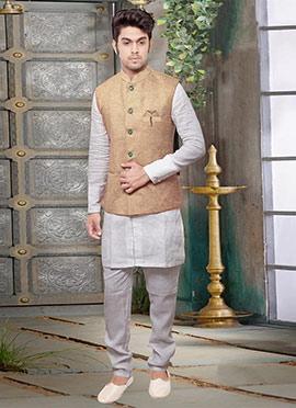 Beige Jute Nehru Jacket