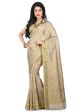 Beige Kancheepuram Art Silk Saree