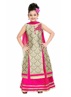Beige Kids A Line Long Choli Lehenga