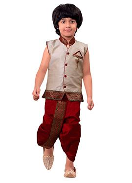 Beige Kids Dhoti Kurta Set