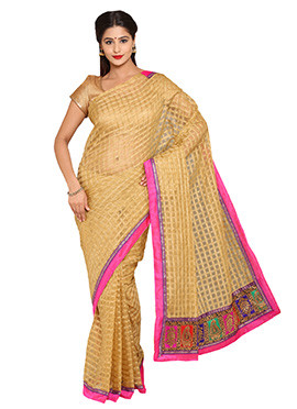 Beige Kota Checked Saree