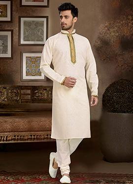Beige Linen Cotton Kurta Pyjama