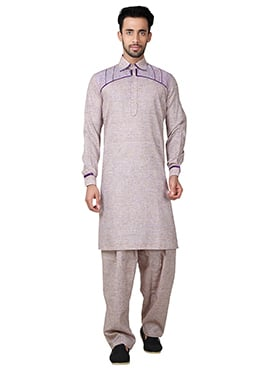 Beige Linen Cotton Pathani Set