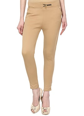 Beige Lycra Cotton Straight Pant