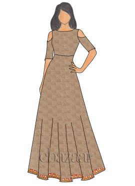 Beige Mogra Silk Cold Shoulder Gown