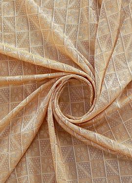 Beige Mogra Silk Fabric