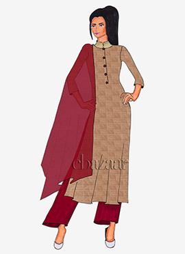 Beige Mogra Silk Palazzo Suit