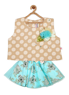 Beige N Aqua Blue Cotton Net Kids Dress