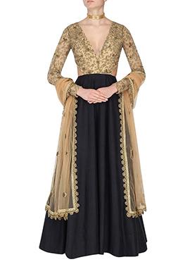 Beige N Black Art Silk Anarkali Suit
