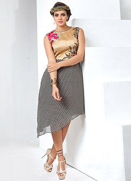 Beige N Black Asymmetric Dress