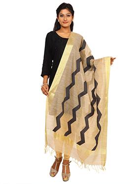 Beige N Black Benarasi Art Tussar Silk Dupatta