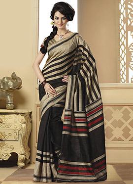 Beige N Black Bhagalpuri Art Silk Saree
