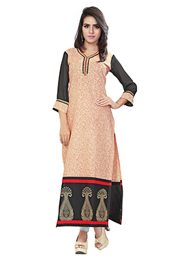 Beige N Black Blended Cotton Kurti
