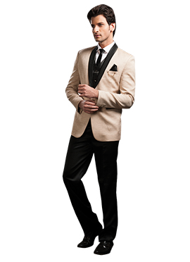 Beige N Black Blended Cotton Suit